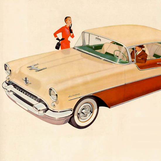 Detail Of Oldsmobile Ninety-Eight DeLux Coupe 1955 | Best of Vintage Ad Art 1891-1970
