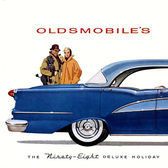 Detail Of Oldsmobile Ninety-Eight Delux Holiday Sedan 1955 | Best of Vintage Ad Art 1891-1970