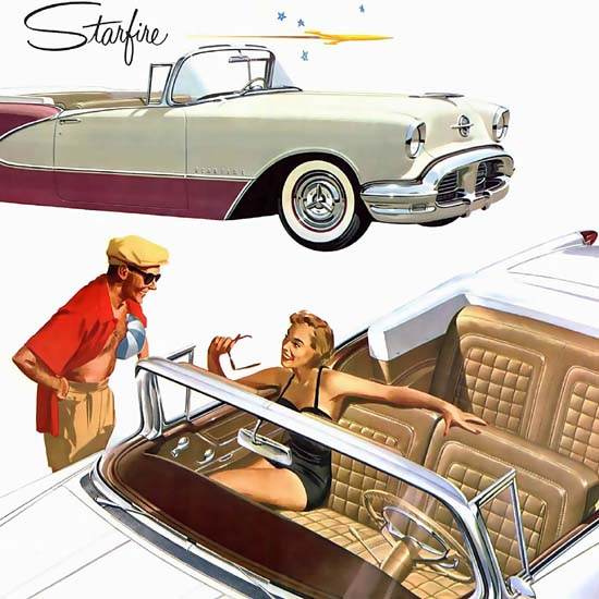 Detail Of Oldsmobile Ninety-Eight Starfire 1956 | Best of Vintage Ad Art 1891-1970