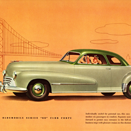 Detail Of Oldsmobile Series 60 Club Coupe 1948 | Best of Vintage Ad Art 1891-1970