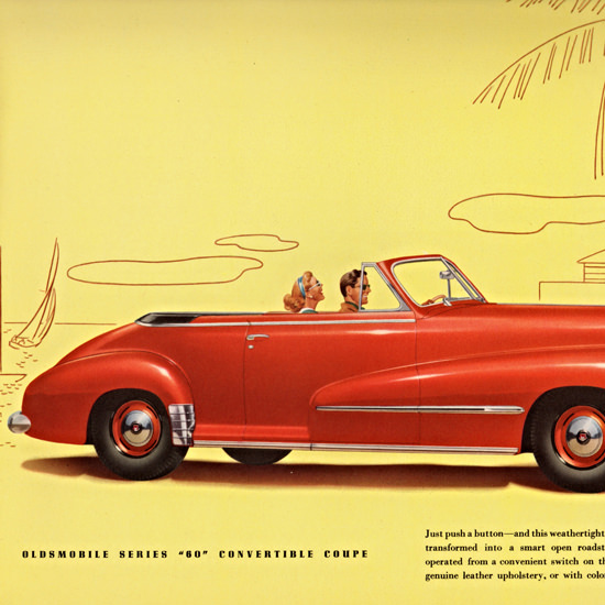Detail Of Oldsmobile Series 60 Convertible Coupe 1948 | Best of Vintage Ad Art 1891-1970
