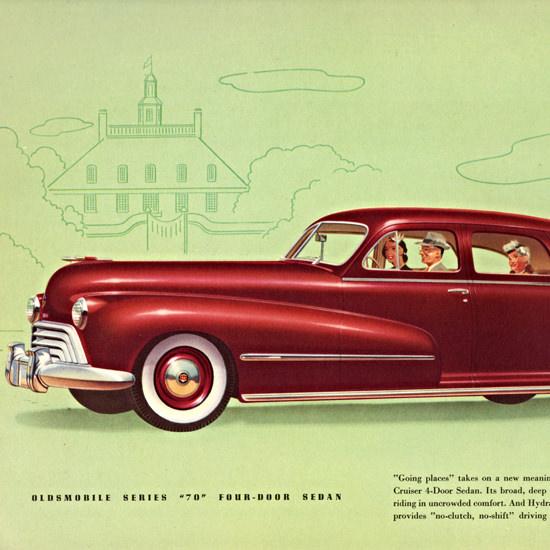 Detail Of Oldsmobile Series 70 Sedan 1948 Going Places | Best of Vintage Ad Art 1891-1970