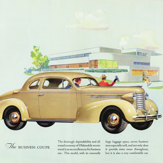 Detail Of Oldsmobile Six Business Coupe 1937 | Best of Vintage Ad Art 1891-1970