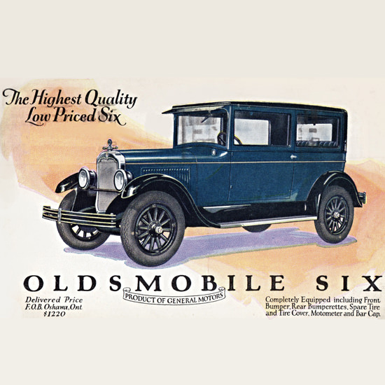 Detail Of Oldsmobile Six Coach 1927 Oshawa | Best of Vintage Ad Art 1891-1970