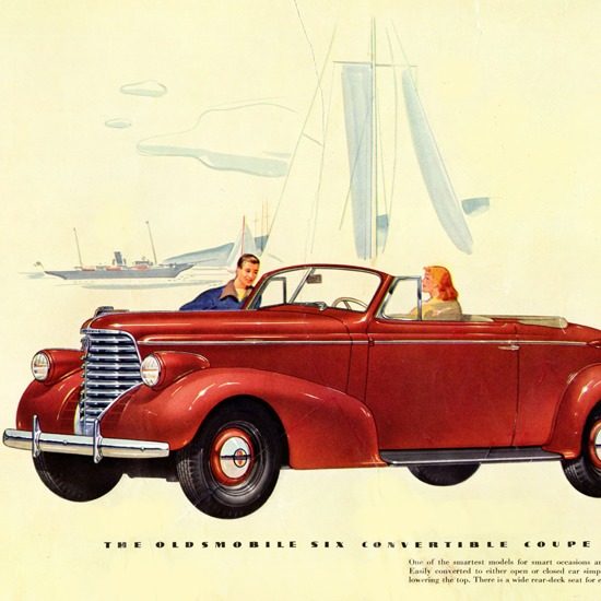 Detail Of Oldsmobile Six Convertible Coupe 1938 | Best of Vintage Ad Art 1891-1970