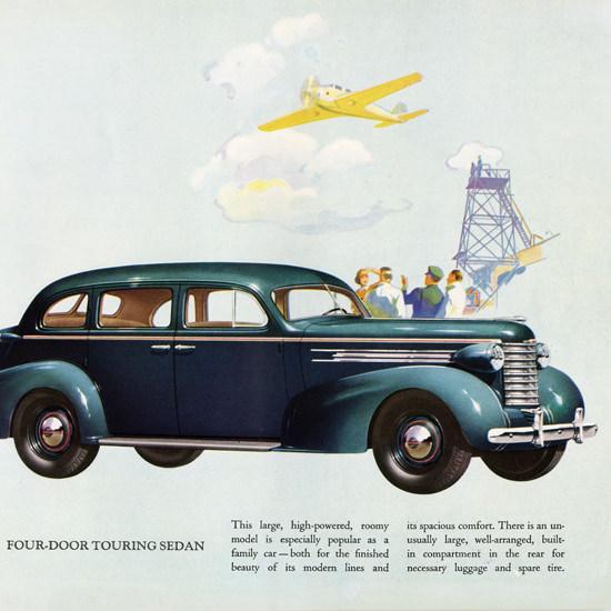Detail Of Oldsmobile Six Four Door Touring Sedan 1937 | Best of Vintage Ad Art 1891-1970