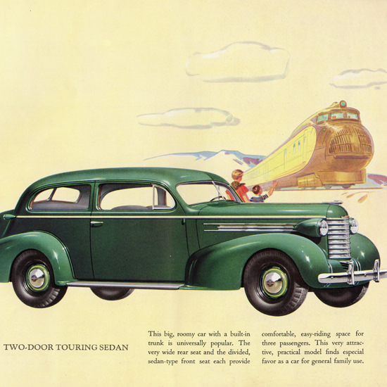 Detail Of Oldsmobile Six Two Door Touring Sedan 1937 | Best of 1930s Ad and Cover Art