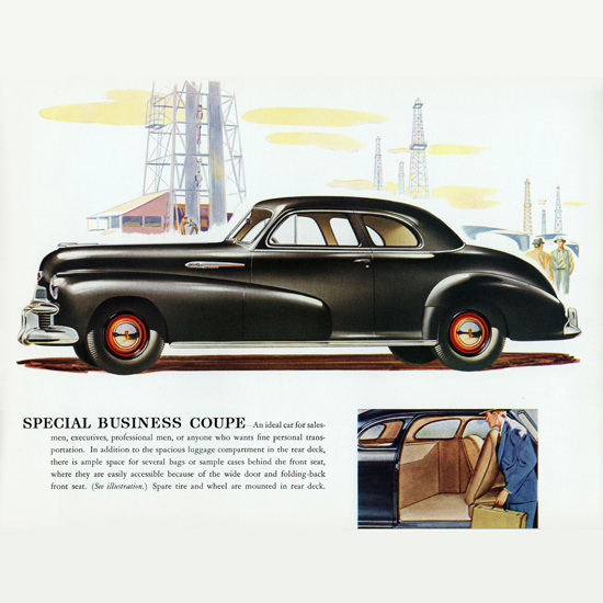 Detail Of Oldsmobile Special Business Coupe 1942 Oil B | Best of Vintage Ad Art 1891-1970