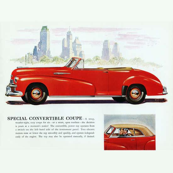 Detail Of Oldsmobile Special Convertible 1942 NYC B | Best of Vintage Ad Art 1891-1970