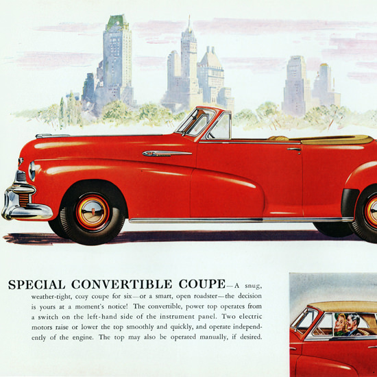 Detail Of Oldsmobile Special Convertible 1942 NYC | Best of Vintage Ad Art 1891-1970