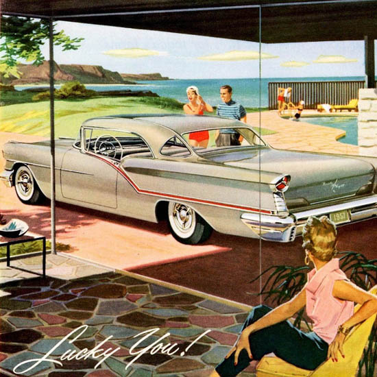 Detail Of Oldsmobile Starfire 98 Coupe 1957 Lucky You | Best of Vintage Ad Art 1891-1970