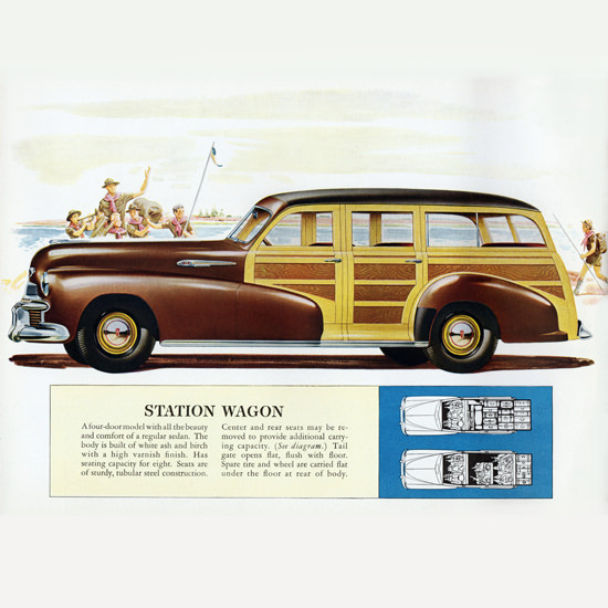 Detail Of Oldsmobile Station Wagon 1942 Boy Scouts B | Best of Vintage Ad Art 1891-1970