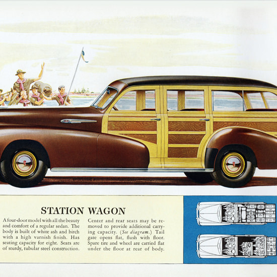 Detail Of Oldsmobile Station Wagon 1942 Boy Scouts | Best of Vintage Ad Art 1891-1970
