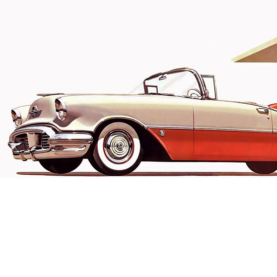 Detail Of Oldsmobile Super 88 Convertible Coupe 1956 | Best of Vintage Ad Art 1891-1970