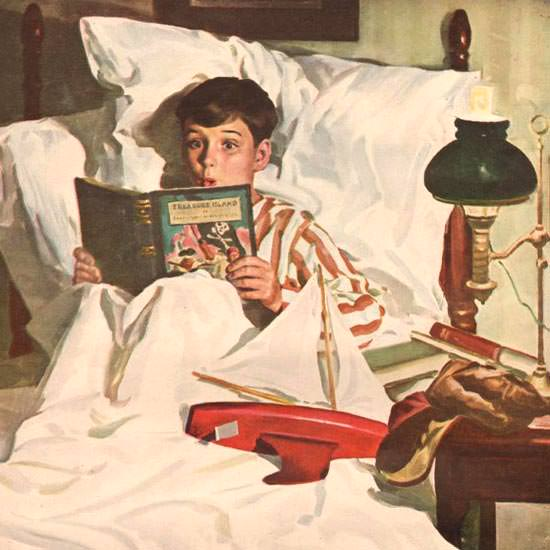 Detail Of Pacific Sheets Bedroom Buccaneer 1946   Best of 1940s Ad and Cover Art