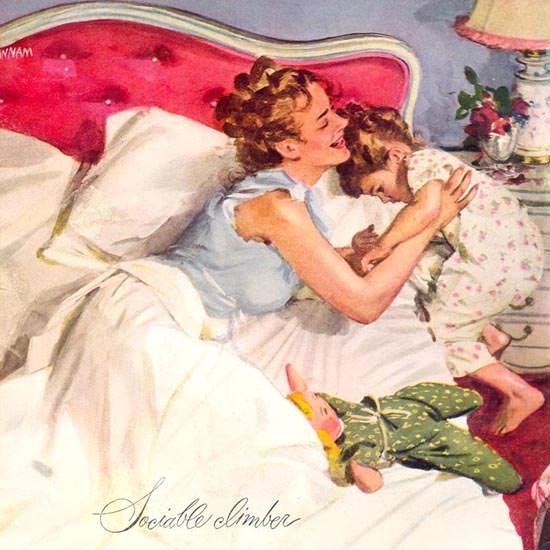 Detail Of Pacific Sheets Sociable Climber Girl 1946 | Best of 1940s Ad and Cover Art