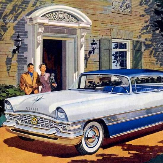 Detail Of Packard Four Hundred 1955 White Blue | Best of Vintage Ad Art 1891-1970