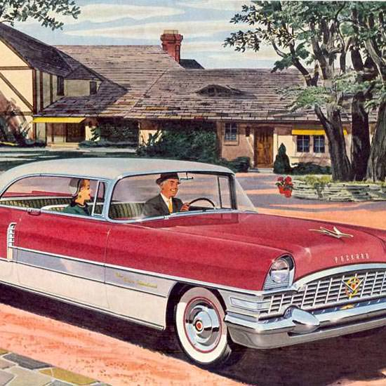 Detail Of Packard Four Hundred 1955 White Red | Best of Vintage Ad Art 1891-1970