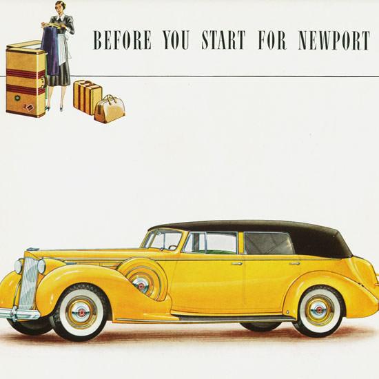 Detail Of Packard Twelve Convertible Sedan 1938 | Best of Vintage Ad Art 1891-1970