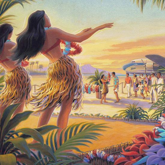 Detail Of Pan America World Airways Hawaii Girls | Best of Vintage Ad Art 1891-1970