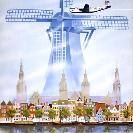 Detail Of Pan American Airways Amsterdam Clipper 1951 | Best of Vintage Ad Art 1891-1970