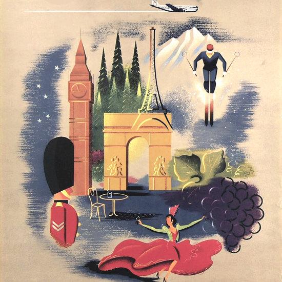Detail Of Pan American Airways Europe By Clipper 1950s | Best of Vintage Ad Art 1891-1970