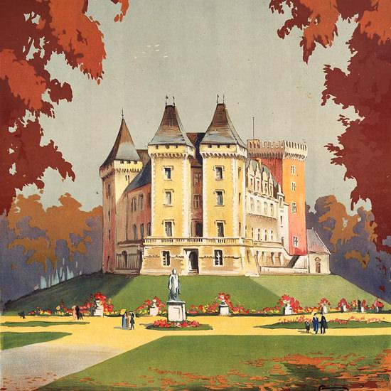 Detail Of Pau Winter And Summer Resort 1910 | Best of Vintage Ad Art 1891-1970