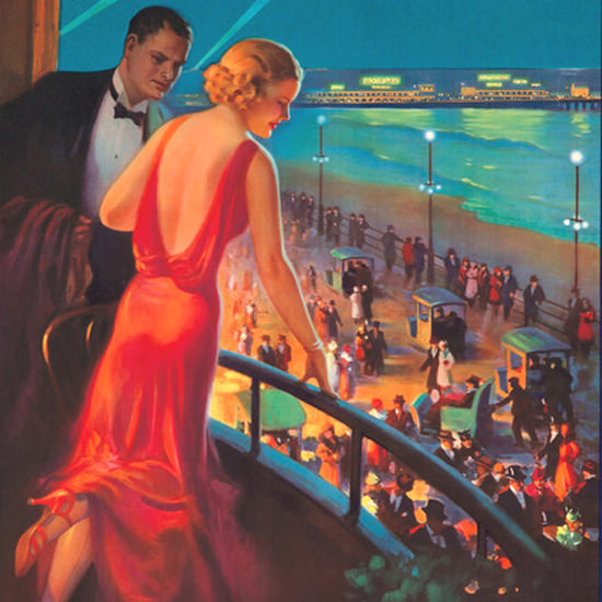 Detail Of Pennsylvania Railroad Atlantic City Resort 1930s | Best of Vintage Ad Art 1891-1970