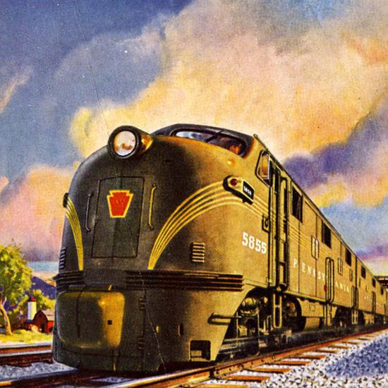 Detail Of Pennsylvania Railroad Trail Blazer New York–Chicago 1947 | Best of Vintage Ad Art 1891-1970