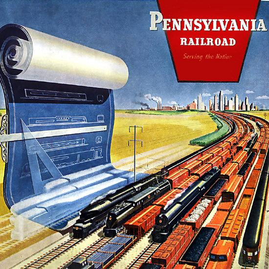 Detail Of Pennsylvania Railroad Eyes On Tomorrow 1945 | Best of Vintage Ad Art 1891-1970
