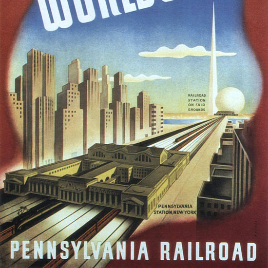 Detail Of Pennsylvania Railroad New York Worlds Fair 1939 | Best of Vintage Ad Art 1891-1970