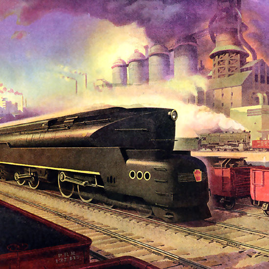 Detail Of Pennsylvania Railroad Power To Pace The Future 1942 | Best of 1940s Ad and Cover Art