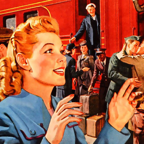 Detail Of Pennsylvania Railroad Railroading Is People 1945 B | Best of 1940s Ad and Cover Art