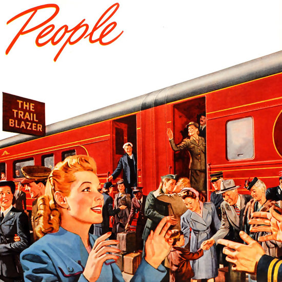 Detail Of Pennsylvania Railroad Railroading Is People 1945 | Best of 1940s Ad and Cover Art