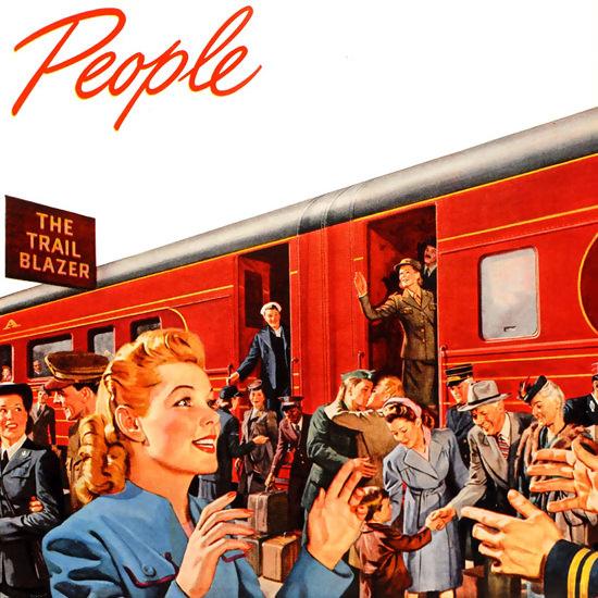 Detail Of Pennsylvania Railroad Railroading Is People 1945 | Best of Vintage Ad Art 1891-1970