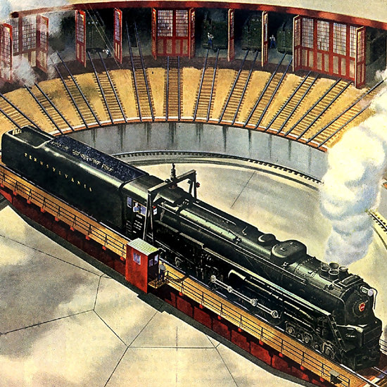 Detail Of Pennsylvania Railroad Something New On Table | Best of Vintage Ad Art 1891-1970
