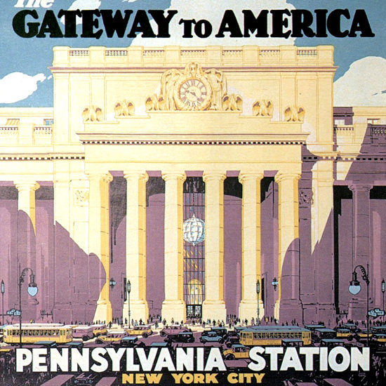 Detail Of Pennsylvania Railroad Station New York 1929 | Best of 1920s Ad and Cover Art