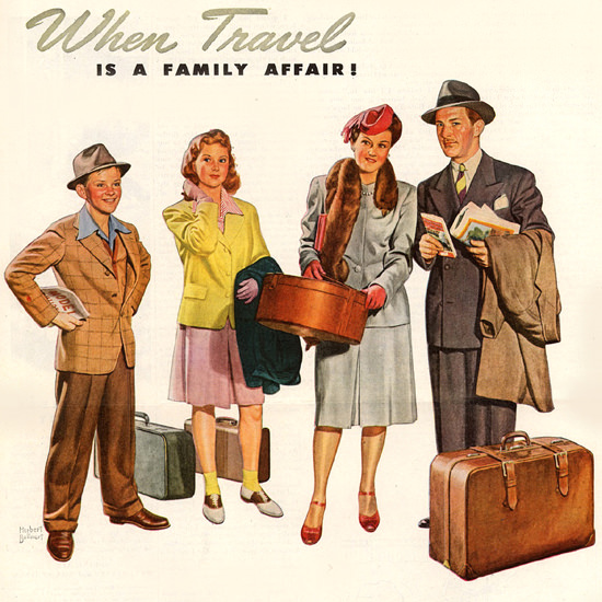 Detail Of Pennsylvania Railroad Travel Family Affair 1946 | Best of Vintage Ad Art 1891-1970