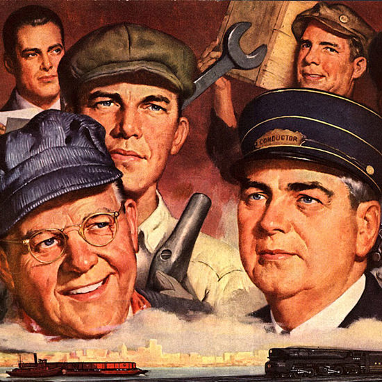 Detail Of Pennsylvania Railroad Working Partners 1946 | Best of 1940s Ad and Cover Art