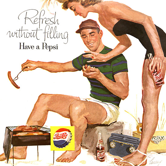 Detail Of Pepsi-Cola Barbecue Girl Pepsi 1956 | Best of Vintage Ad Art 1891-1970