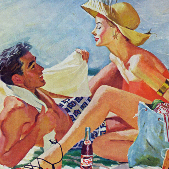 Detail Of Pepsi-Cola Beach Modern Living Calls For Pepsi 1950s | Best of Vintage Ad Art 1891-1970