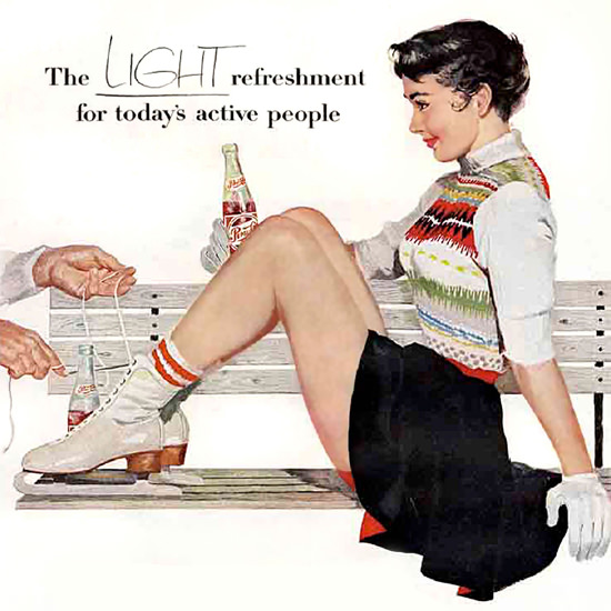 Detail Of Pepsi-Cola Figure Skater Pepsi 1950s | Best of Vintage Ad Art 1891-1970