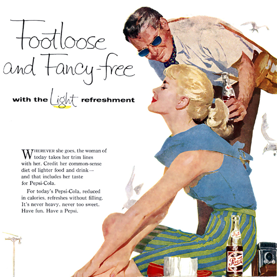 Detail Of Pepsi-Cola Footloose And Fancy-Free Girl Please 1958 | Best of 1950s Ad and Cover Art