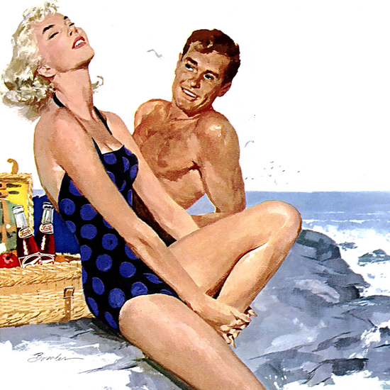 Detail Of Pepsi-Cola Girl Beach Life Todays People Pepsi 1954 | Best of 1950s Ad and Cover Art