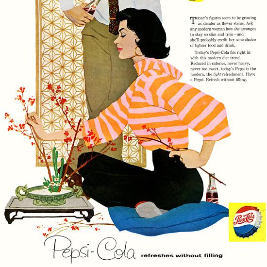 Detail Of Pepsi-Cola Ikebana Arrangement For Slimness 1958 | Best of Vintage Ad Art 1891-1970