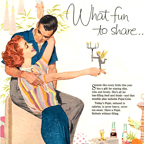 Detail Of Pepsi-Cola Light What Fun To Share Pepsi 1958 | Best of 1950s Ad and Cover Art