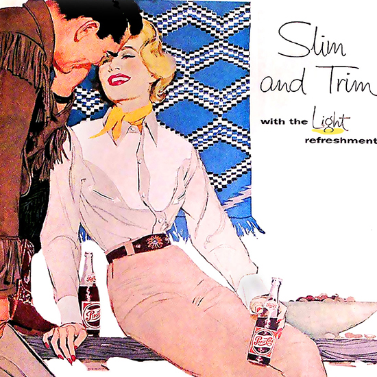 Detail Of Pepsi-Cola Slim And Trim Girl Pepsi 1958 | Best of 1950s Ad and Cover Art