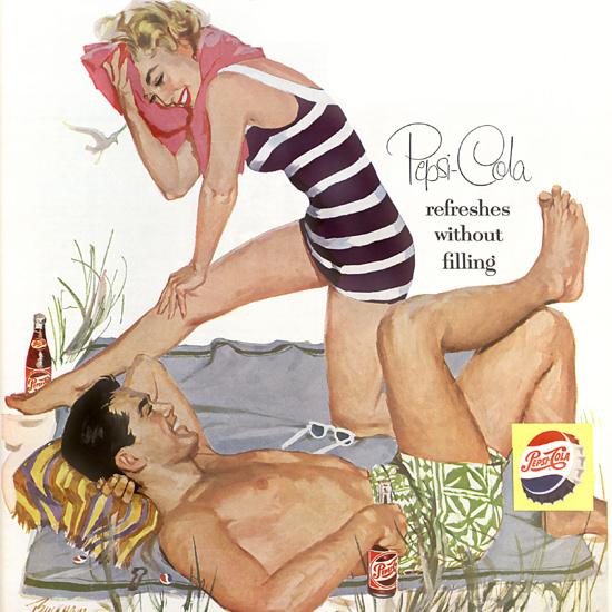 Detail Of Pepsi-Cola Strictliy Modern American Beach 1955 | Best of Vintage Ad Art 1891-1970