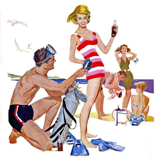Detail Of Pepsi-Cola The Beach The Sociables Prefer Pepsi 1950s | Best of 1950s Ad and Cover Art