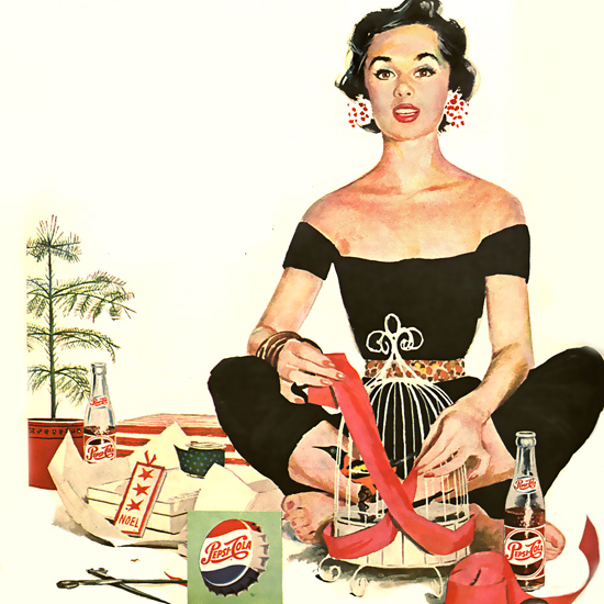 Detail Of Pepsi-Cola Yoga Girl Pepsi 1954 | Best of 1950s Ad and Cover Art